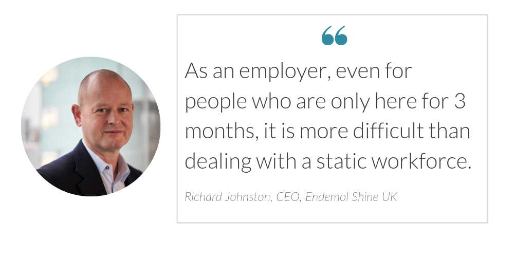 Richard Johnston Endemol Shine UK CEO on Freelance Workforces